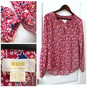 Maeve Anthropologie Blouse Top Floral Berries 14